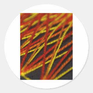 woven string reds round sticker
