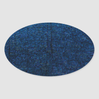 woven structure blue oval stickers