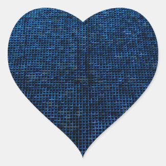 woven structure, blue heart sticker