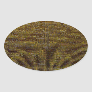 woven structure golden oval stickers
