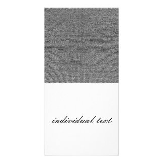 woven structure metal silver photo greeting card