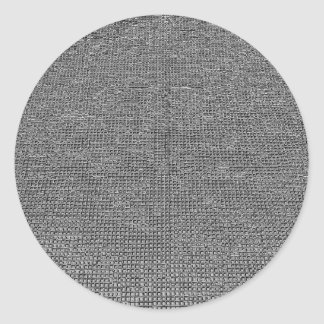 woven structure ,metal silver classic round sticker