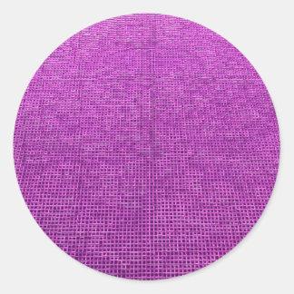 woven structure neon pink round sticker