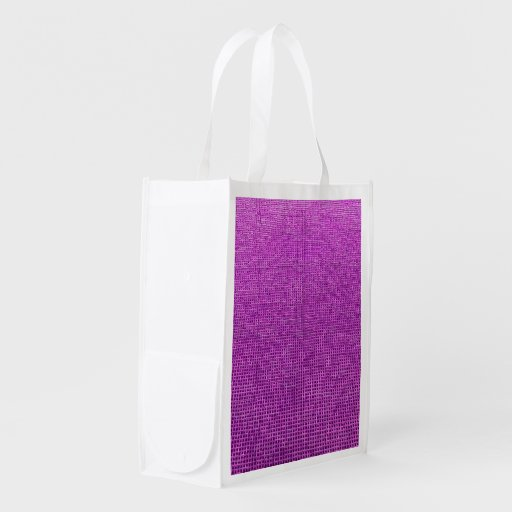 woven structure neon pink reusable grocery bags