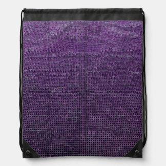 woven structure purple drawstring bag