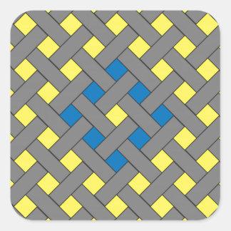 Woven/Wicker-look Pattern Blue, Yellow, Gray Square Sticker
