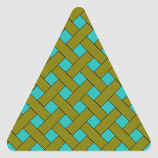 Woven/Wicker-look Pattern in Aqua and Green Triangle Sticker