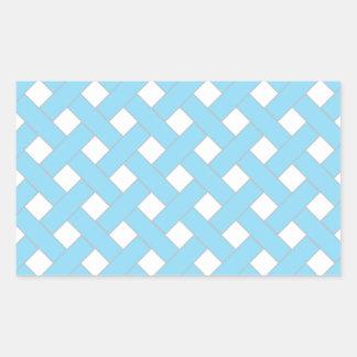 Woven/Wicker-look Pattern in Aqua and White Rectangular Sticker