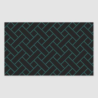 Woven/Wicker-look Pattern in Black and Green Rectangular Sticker