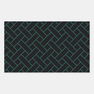 Woven/Wicker-look Pattern in Black and Green Rectangular Sticker