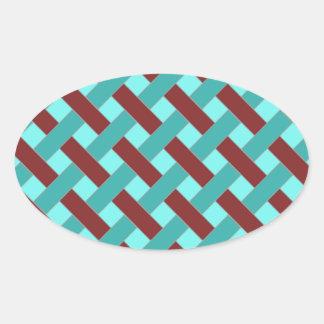 Woven/Wicker-look Pattern in Bordeaux and Aqua Oval Sticker