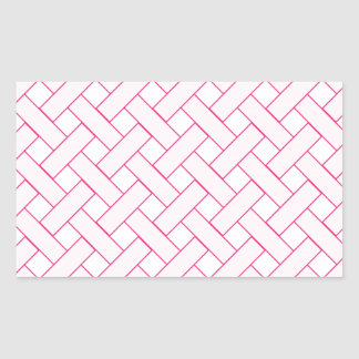 Woven/Wicker-look Pattern: Pink and White Rectangle Sticker