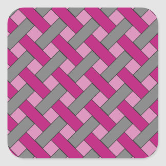 Woven/Wicker-look Pattern: Pink, Gray and Black Square Sticker