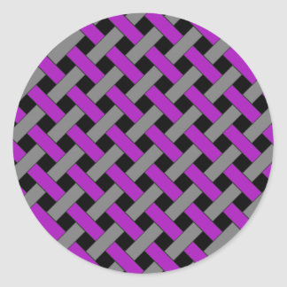 Woven/Wicker-look Pattern: Purple, Gray and Black Round Stickers