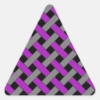 Woven/Wicker-look Pattern: Purple, Gray and Black Triangle Sticker