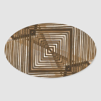 Woven Wood Geometric Oval Sticker