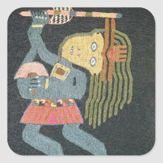 Woven wool dancer with baton, Paracas tribe Square Sticker