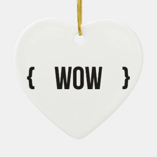 Wow - Bracketed - Black and White Ceramic Heart Decoration