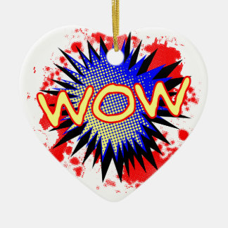 Wow Comic Exclamation Ceramic Heart Decoration
