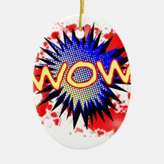 Wow Comic Exclamation Ceramic Oval Decoration