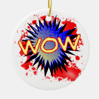 Wow Comic Exclamation Round Ceramic Decoration