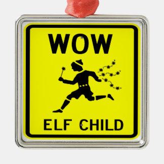 WOW ELF CHILD ornamental Silver-Colored Square Decoration