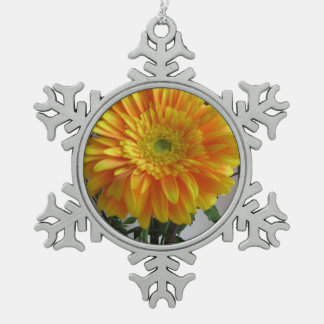 Wow Gerbera Flower Keepsake Pewter Snowflake Decoration