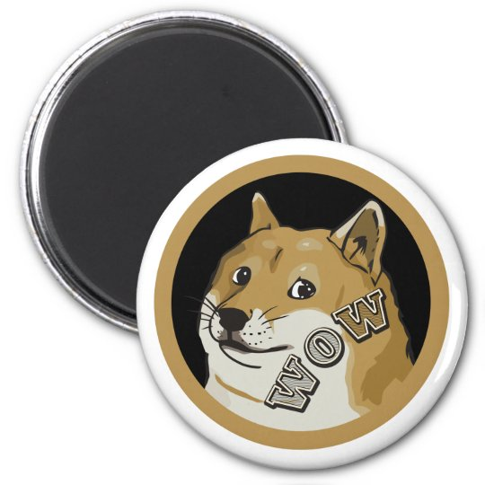 Wow Happy Doge Dogecoin Cryptocurrency Magnet