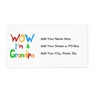 WOW I'm a Grandpa T-shirts and Gifts Shipping Label