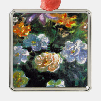 WOW POW FLOWER ART Silver-Colored SQUARE DECORATION