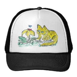 Wow, What is That? Exclaims Yellow Tiger Kitty Trucker Hats