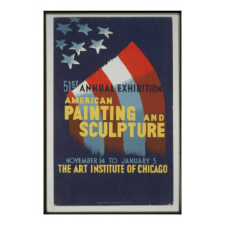 WPA Vintage American Painting & Sculpture Chicago Poster