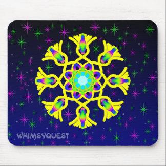 WQ Kaleidoscope Mouse Pad in Yellow Jewel Design