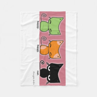 Wrap yourself with Happy.Happy.Meh Kitties Fleece Blanket