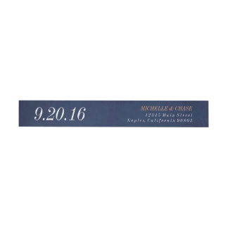 Wraparound address label, navy blue, save the date wraparound return address label