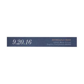 Wraparound address label, navy blue, save the date wraparound return address label