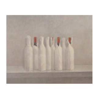 Wrapped bottles on grey 2005 wood print