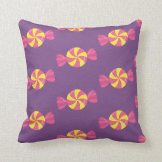 Wrapped Candy Treat Purple Yellow Sugary Sweet Cushion
