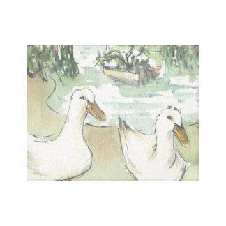 "Wrapped Canvas ""Watercolor Sketch/Ducks Paris"""
