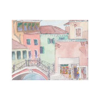 "Wrapped Canvas ""Watercolor Sketch/Venice Italy"
