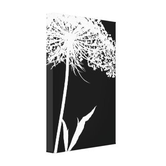 Wrapped Canvas: White on Black Queen Anne's Lace Canvas Print