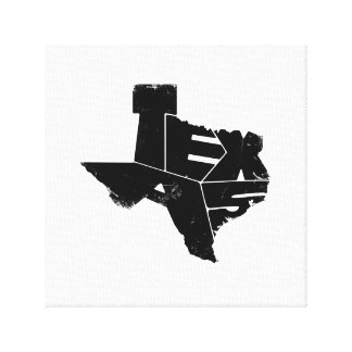 Wrapped Canvas with Black Texas State Map