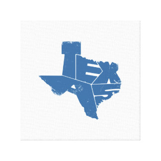 Wrapped Canvas with Blue Texas State Map