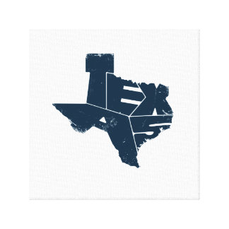 Wrapped Canvas with Dark Blue Texas State Map