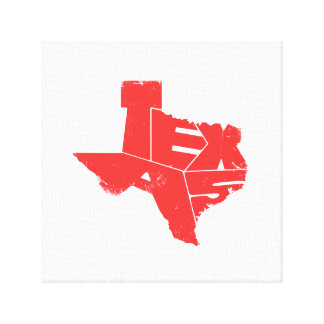 Wrapped Canvas with Red Texas State Map