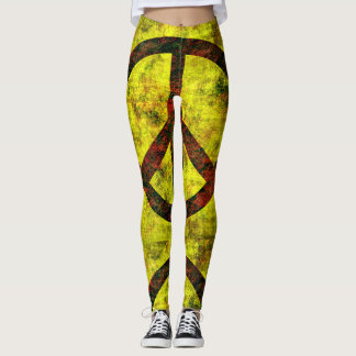 wrapped peace symbol yellow leggings