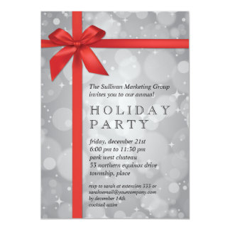 Wrapped Silver Glow Corporate Holiday Party Card