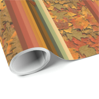 Wrapping Paper - Autumn Leaves and Stripes