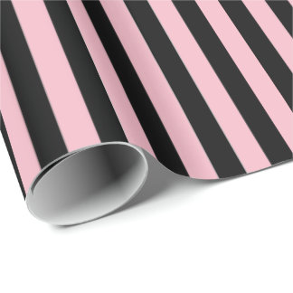 Wrapping Paper-Black & Pink Stripes Wrapping Paper