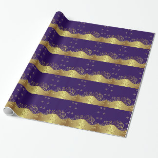 Wrapping Paper--Gold Swirls & Dark Purple Wrapping Paper